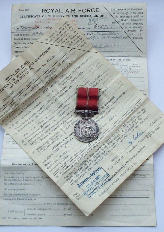 British Empire Medal to 618753 Cpl Alexander T  Thompson RAF