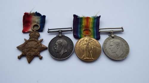 1914/15 Trio and Defence Medal to 64187 DVR A McGee RFA