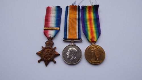 1914 Star Trio to 3126 Pte J Wallace Loyal North Lancs Regt