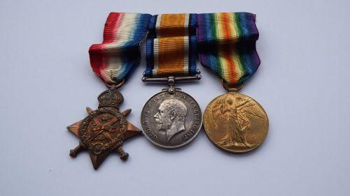 1914 Star Trio to 9470 Pte J A Dennis 1/ East York Regt / A Cyc Corps