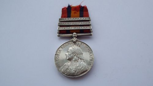 Queens South Africa Medal to 3130 Pte C Wallace 1 LN Lanc Regt