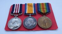 Military Medal and Pair to 20874 Sjt F W Button 18 Lan Fus / MM for Battle of Coutrai