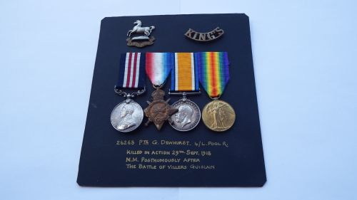 Casualty GV Military Medal group to 26268 Pte G Dewhurst 4/ Liverpool Regt