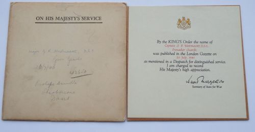 1940 MID Certificate to Captain G R Westmacott DSO Grenadier Guards / Speci