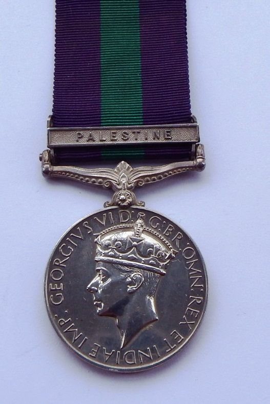 GVI GSM Palestine to 3528211 Pte C Griffiths Manchester Regt /  A Japanese