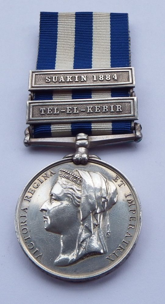Two Bar 1882 Egypt Medal to 65 Pte T Bommer 17th Co C TC