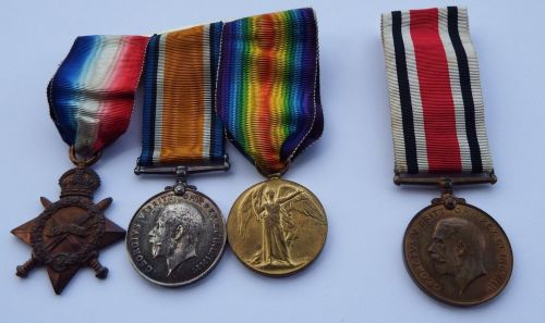 1914/15 Trio and SC to 18434 Pte W Booth Durh L I