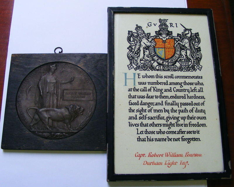 Framed Plaque and Scroll to Captain Robert William Pearson DLI