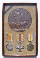 A poignant contemporary framed MC pair and Plaque to 2/Lieut C G Harrison 3rd South Lancs Regt
