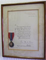 Framed Imperial Service Medal and Scroll to John Moncur Fraser ESQ