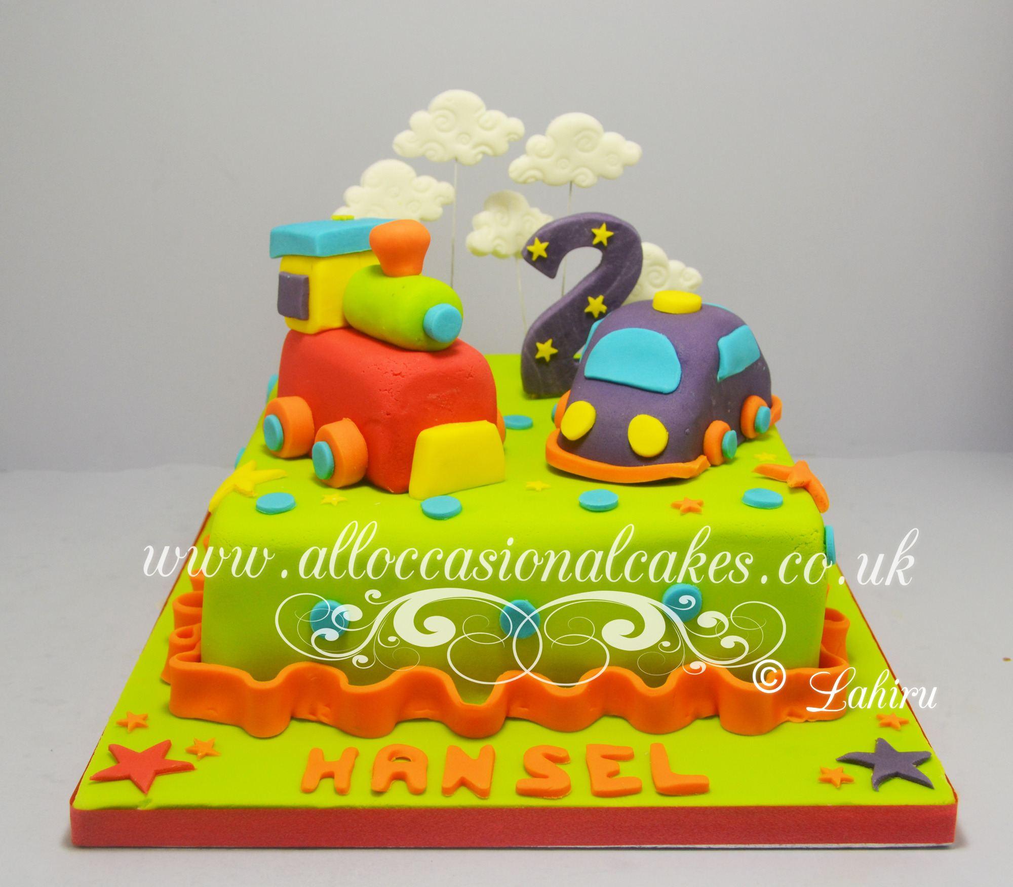 sugar car and train engine cake