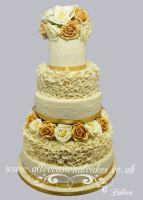 Gold and Ivory Ruffle Wedding Cake