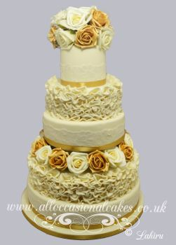 Gold and Ivory Ruffle Wedding Cake