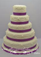 5 tier hand piping wedding cake