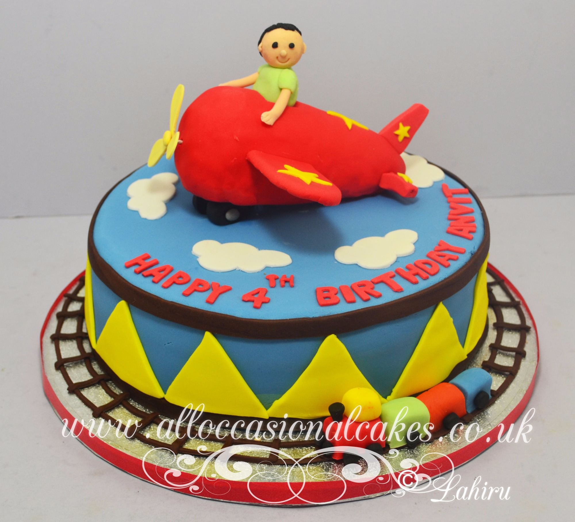 red plane birthday cake