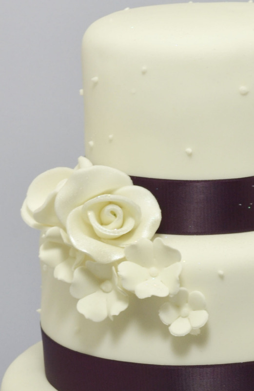 plum colour ribbon with ivory rose 2