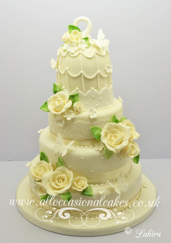 Ivory birdcage wedding cake