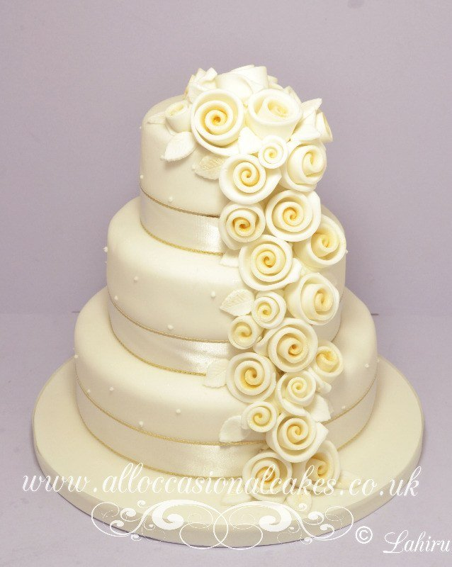 Champagne Rose Cascade Wedding Cake 225