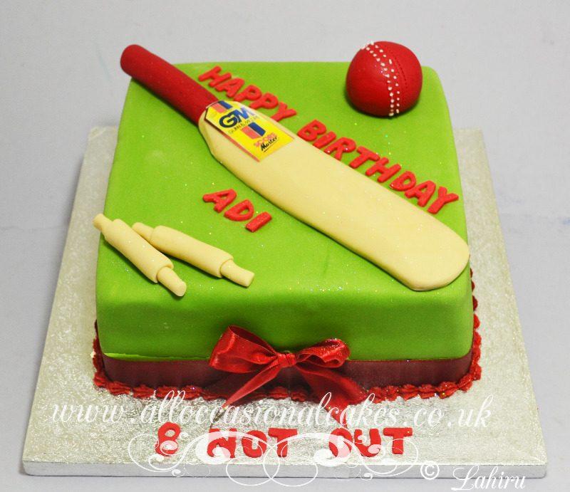 cricket bat and ball cake