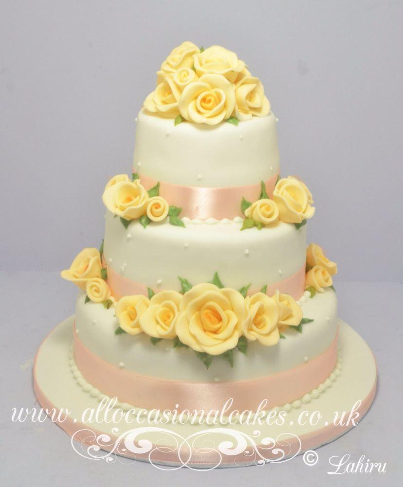 Peach Rose Wedding Cake, peach wedding cakes, rose wedding cakes