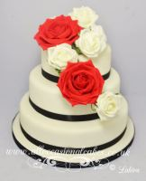 red and ivory roses wedding cake