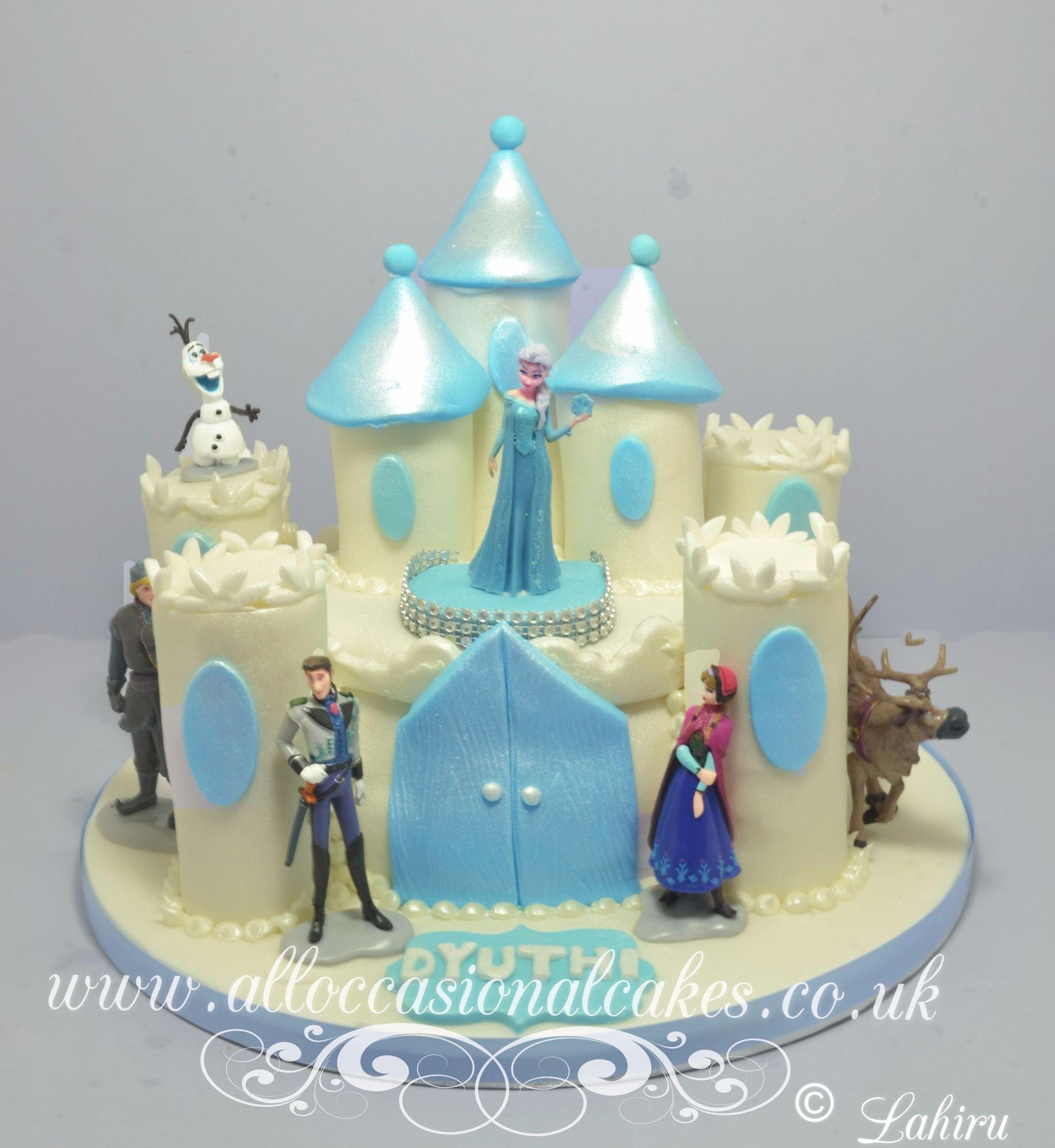frozen themed castle birthday cake