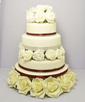 Ivory Roses With Red Ribbon