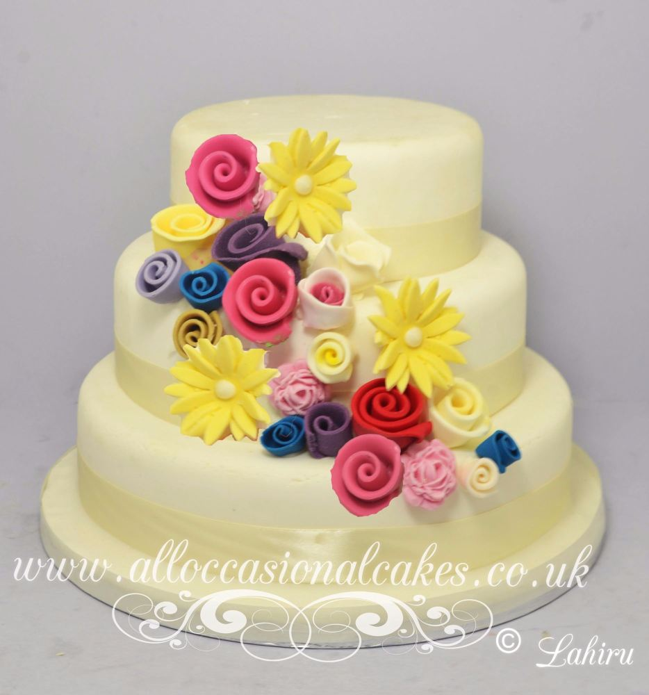 Multicoloured Floral Wedding Cake