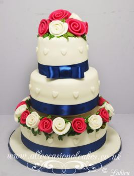 Pink Roses with Blue Ribbon Wedding Cake
