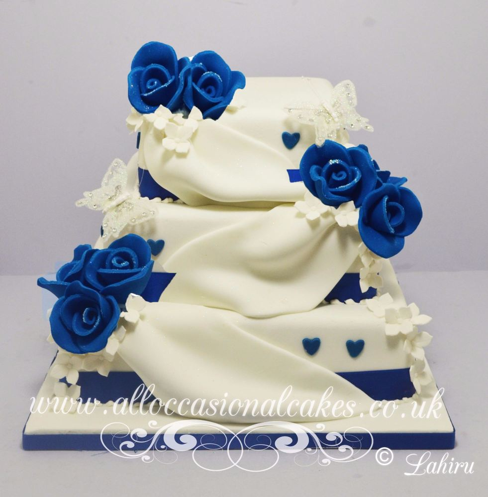 Blue Rose Drape Wedding Cake