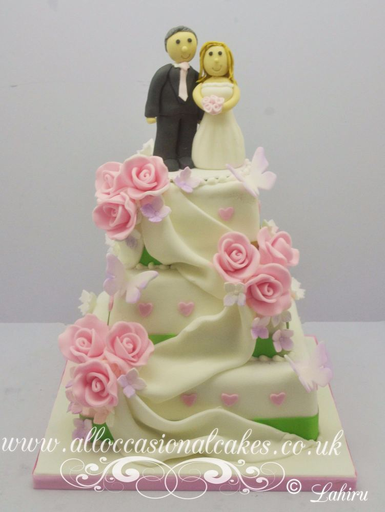 Pink Rose Drape Wedding Cake