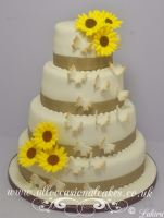 Sunflower and Butterfly Wedding Cake