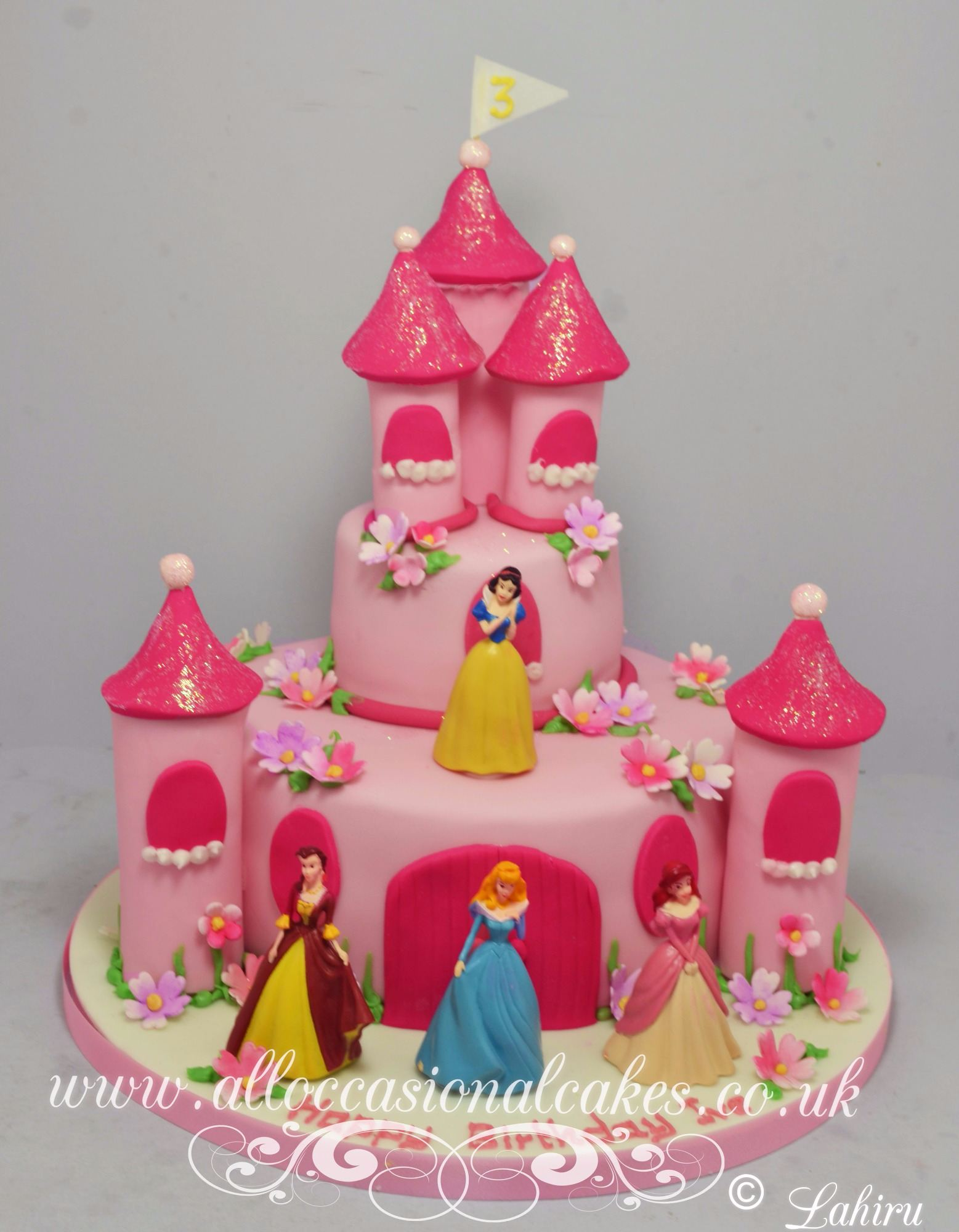 princess castle themed birthday cake