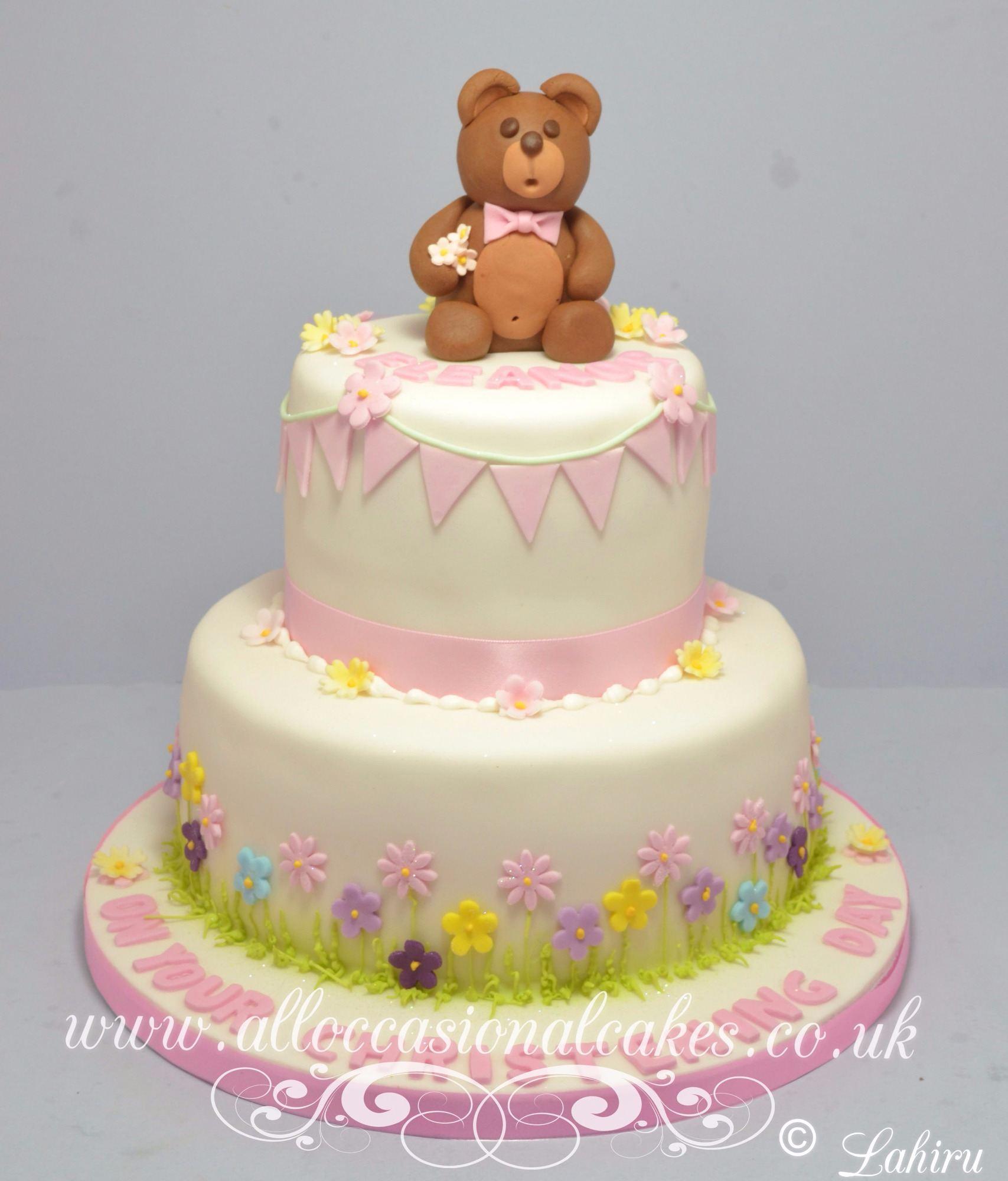 flower garden christening cake
