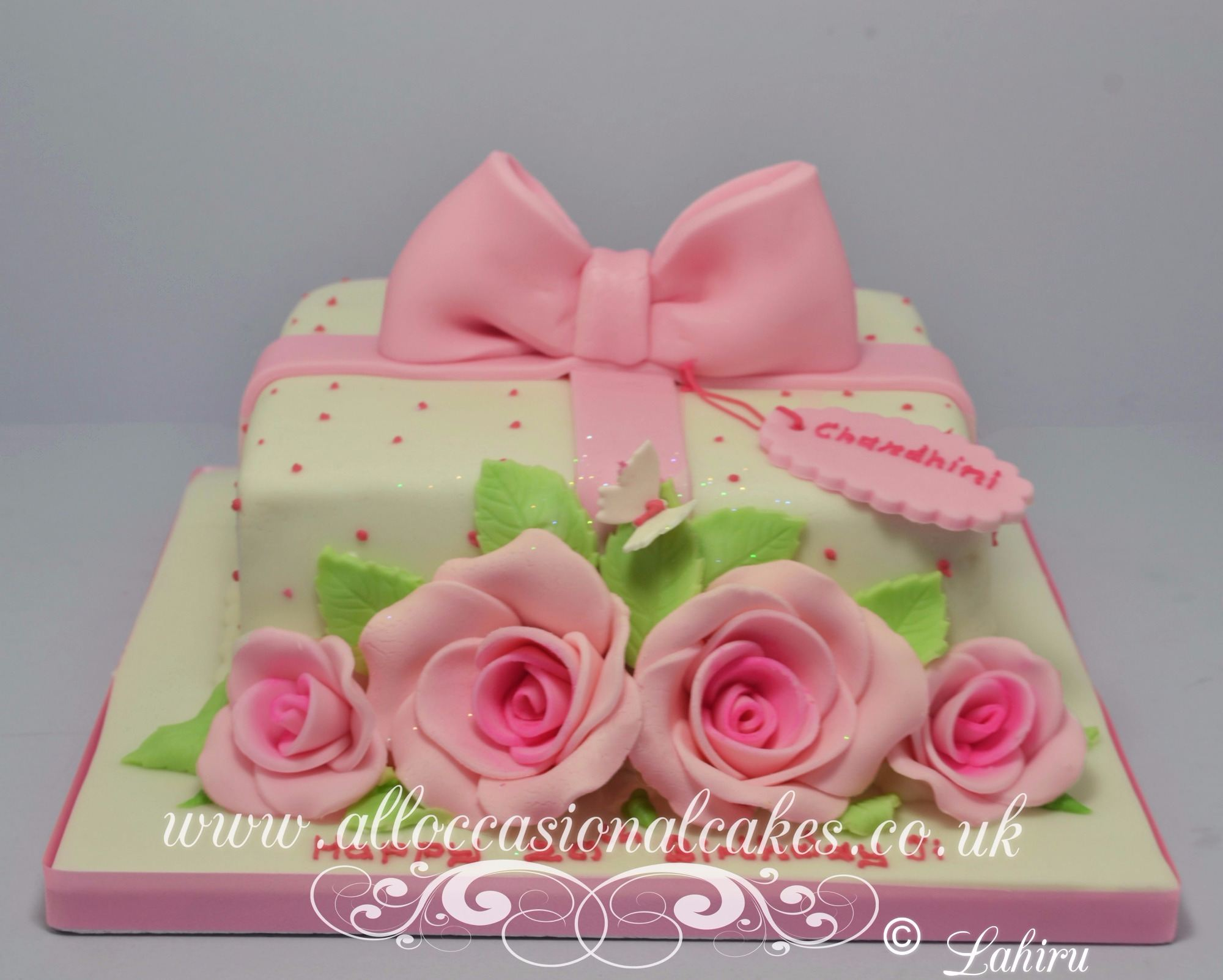 pink rose parcel birthday cake for women