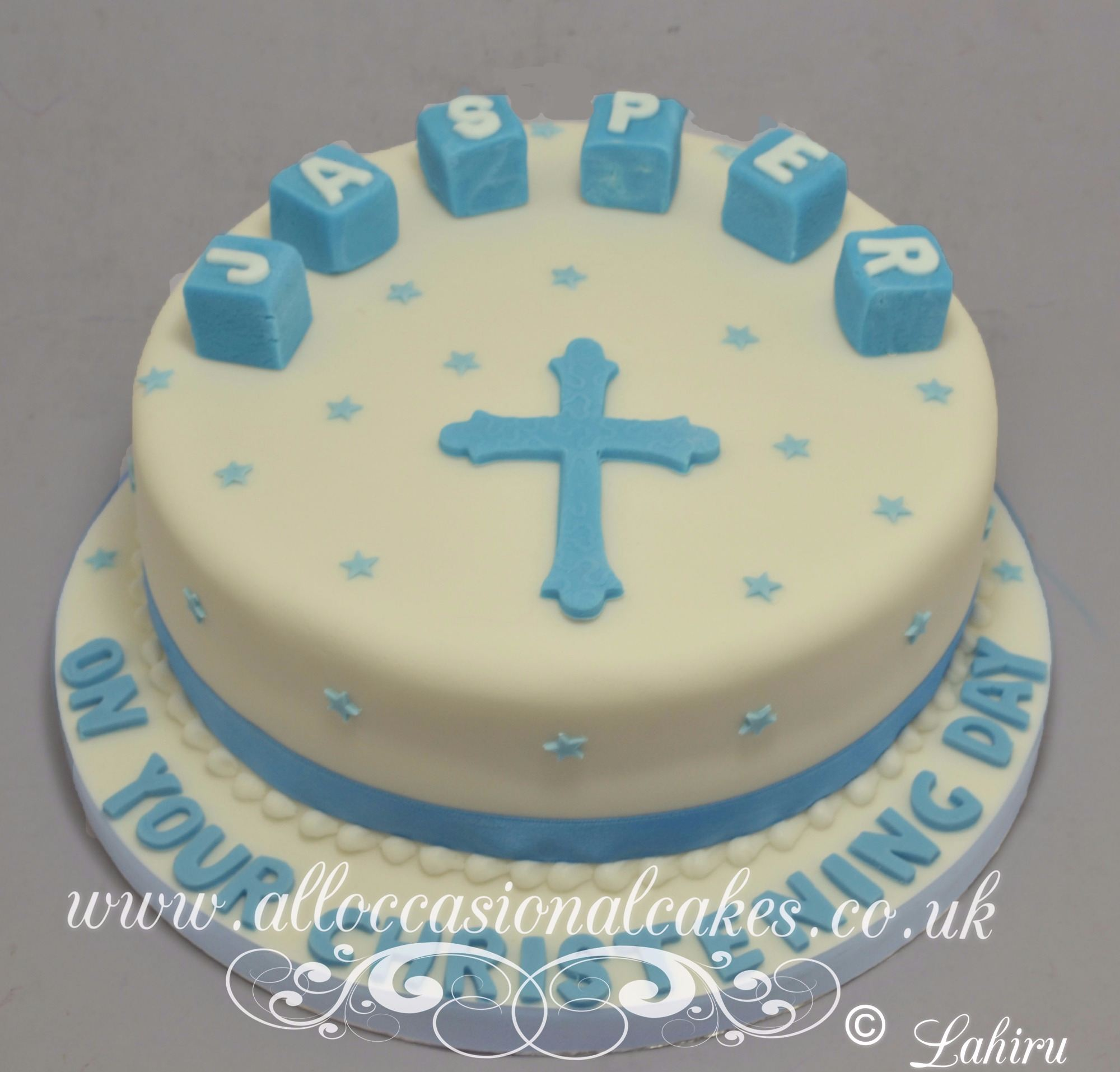 cross religious cake for baby  boy