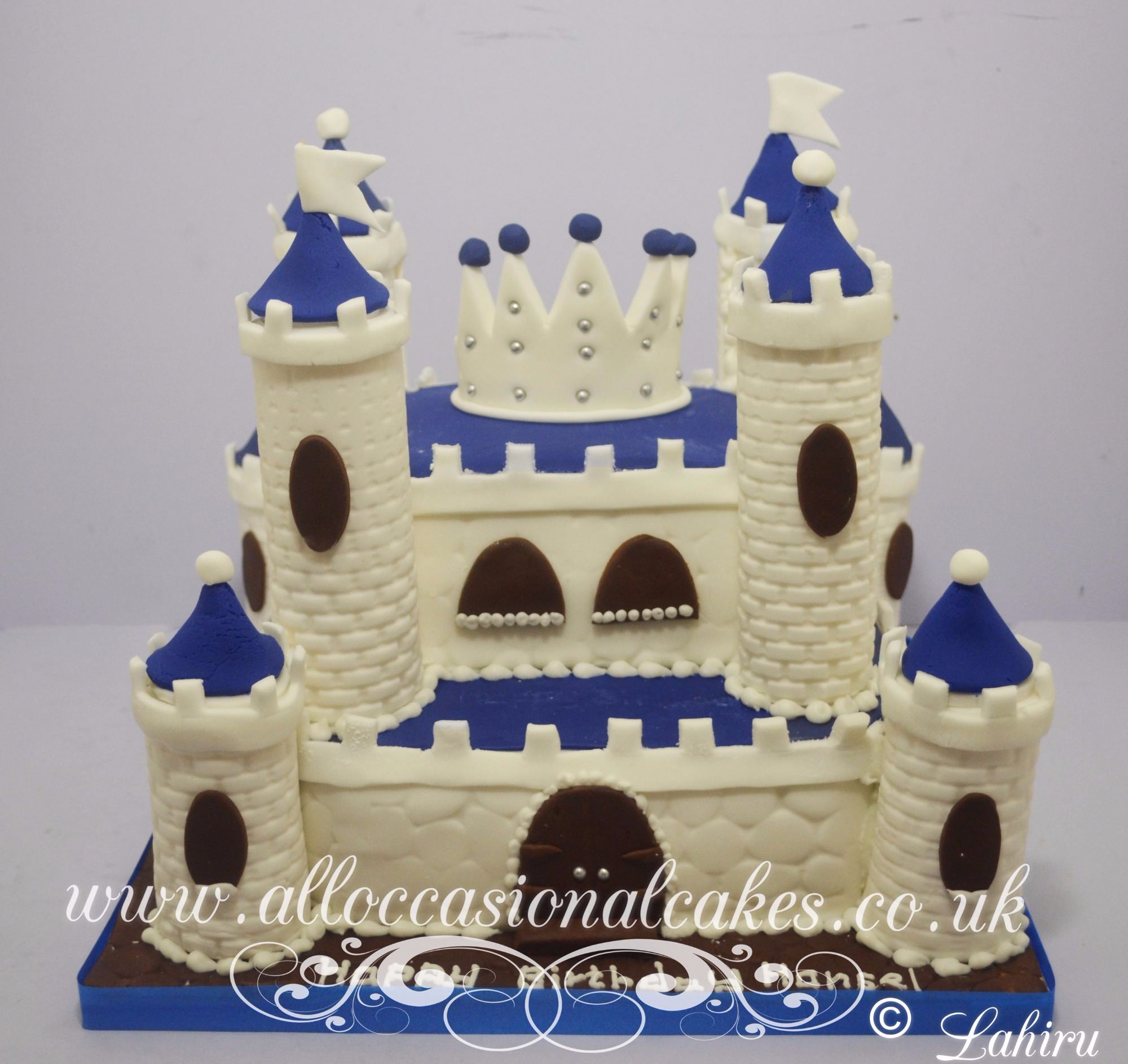 blue and white castle cake
