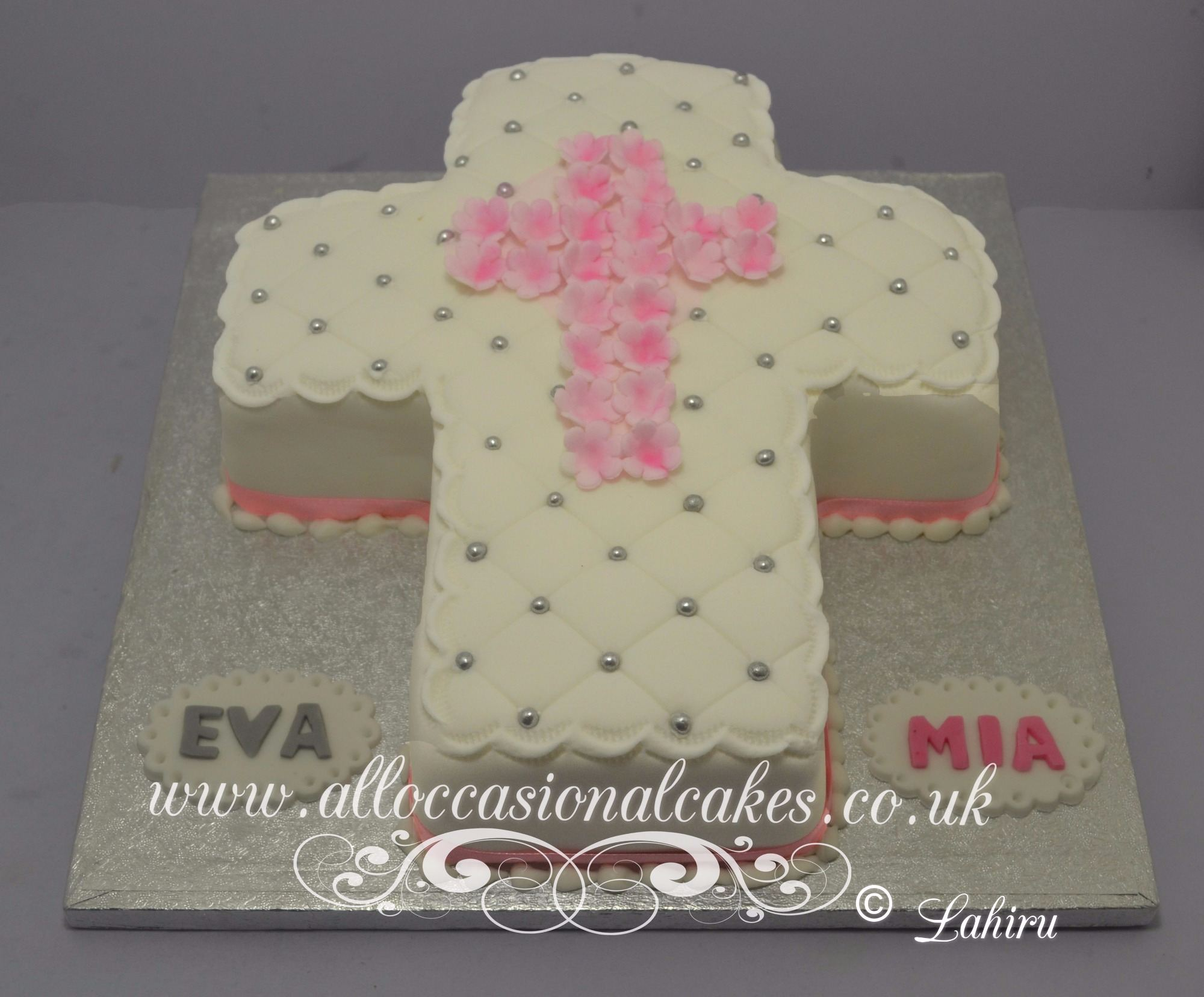cross religious cake for baby  girl