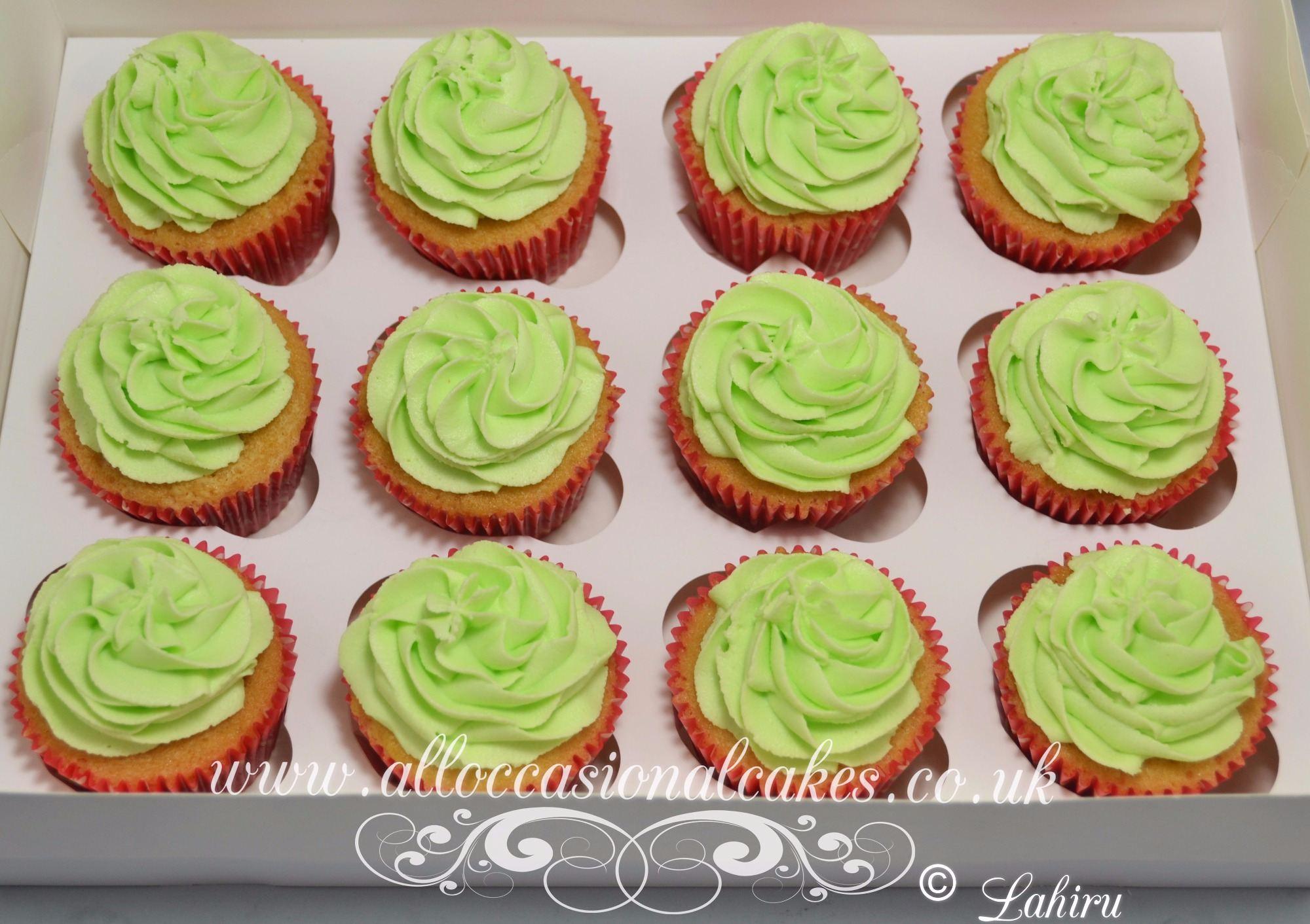 green icing cupcake