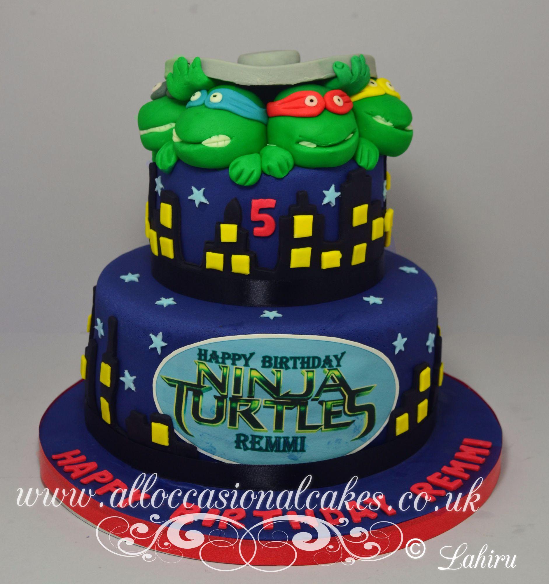 ninja turtles themed birthday cake