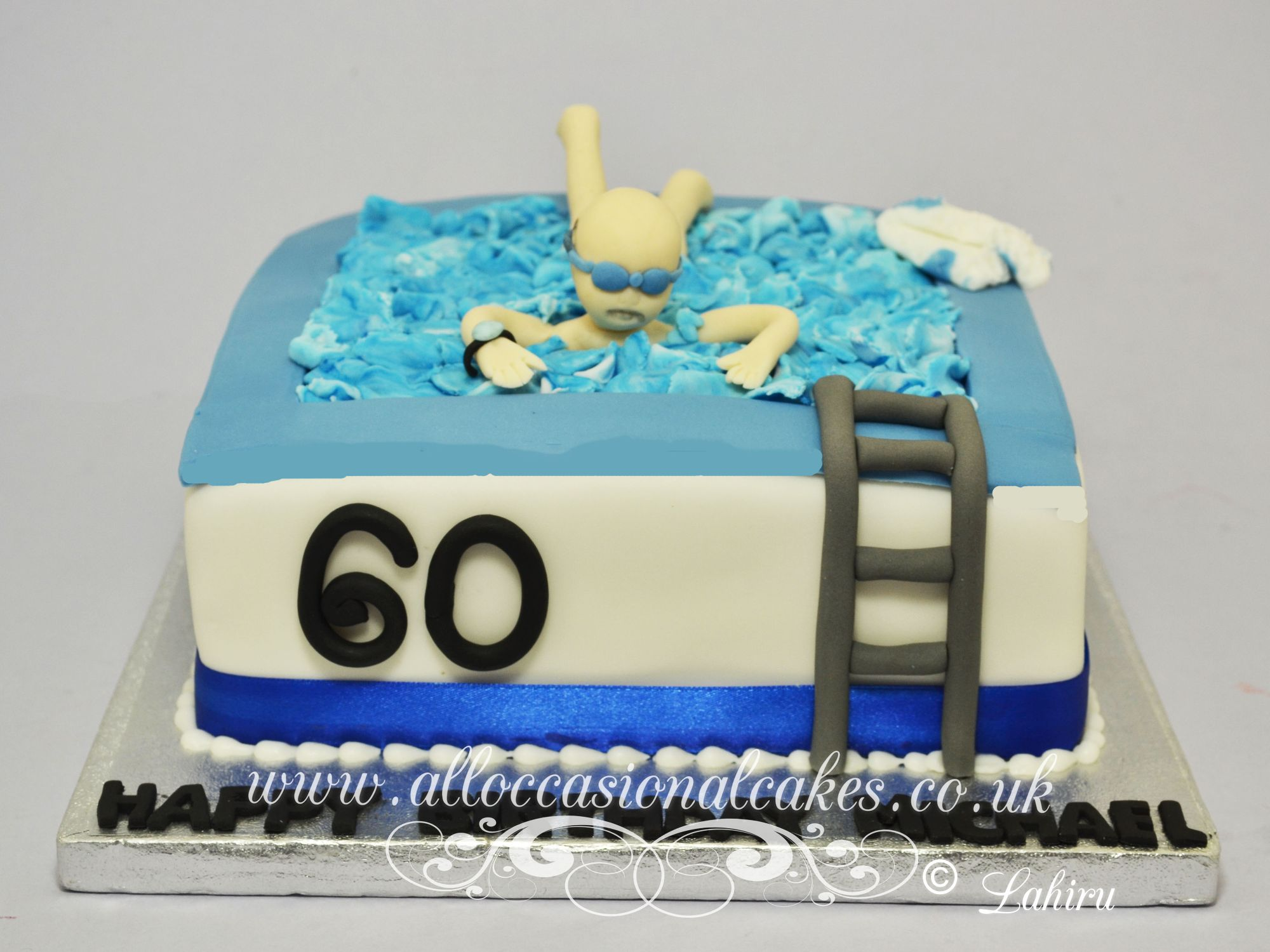 man in a pool cake from