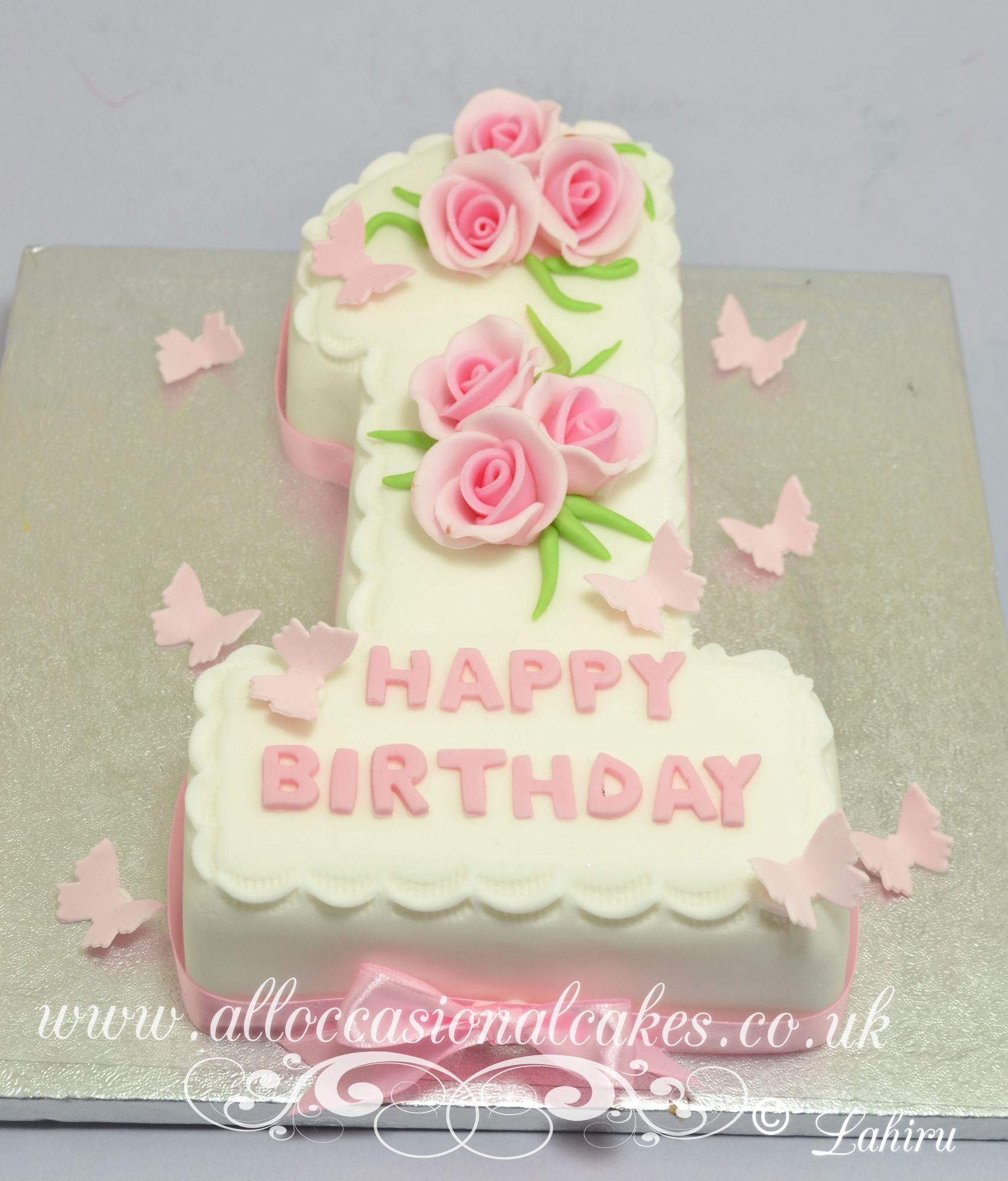 butterflys with roses figure one cake