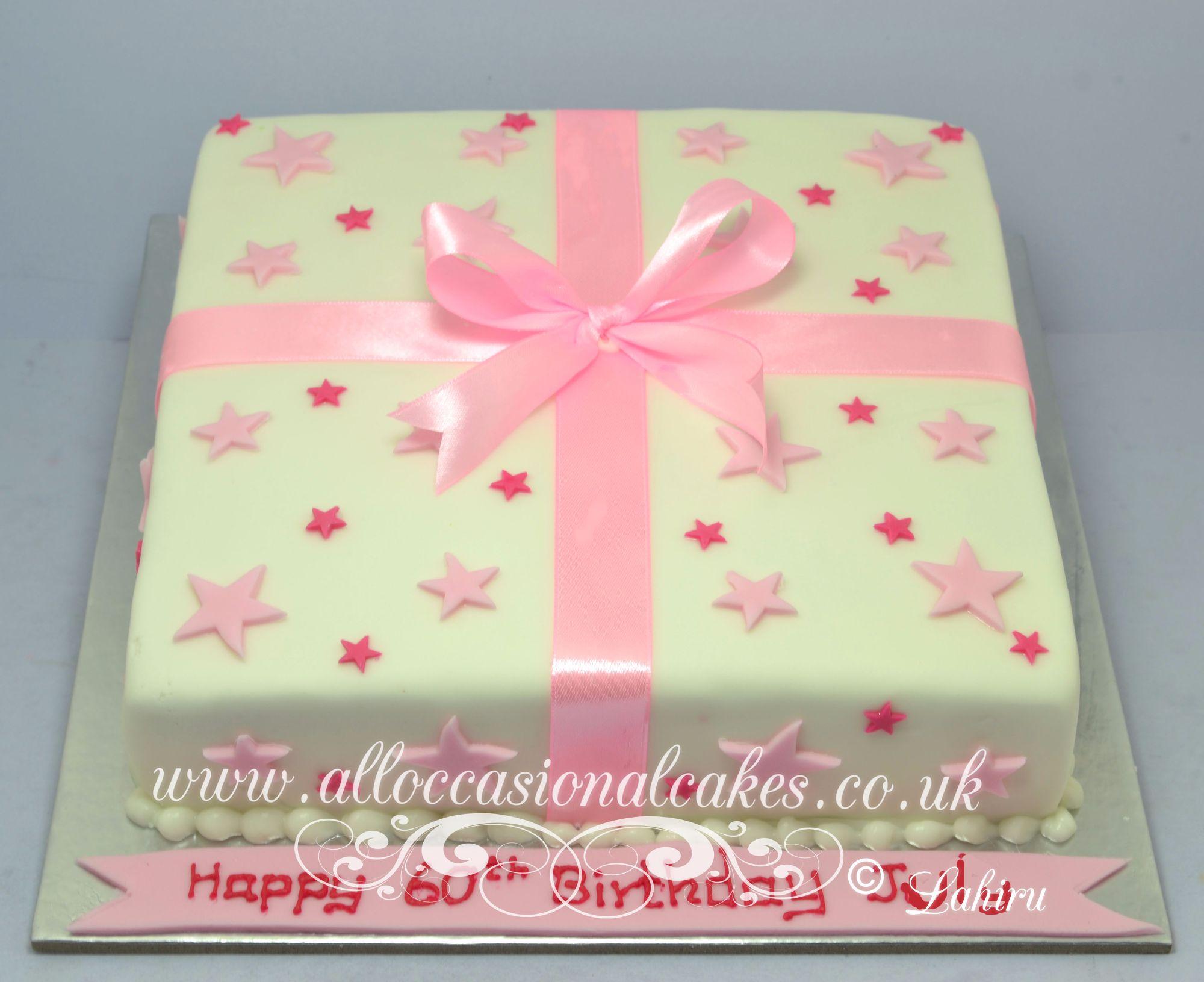pink parcel birthday cake