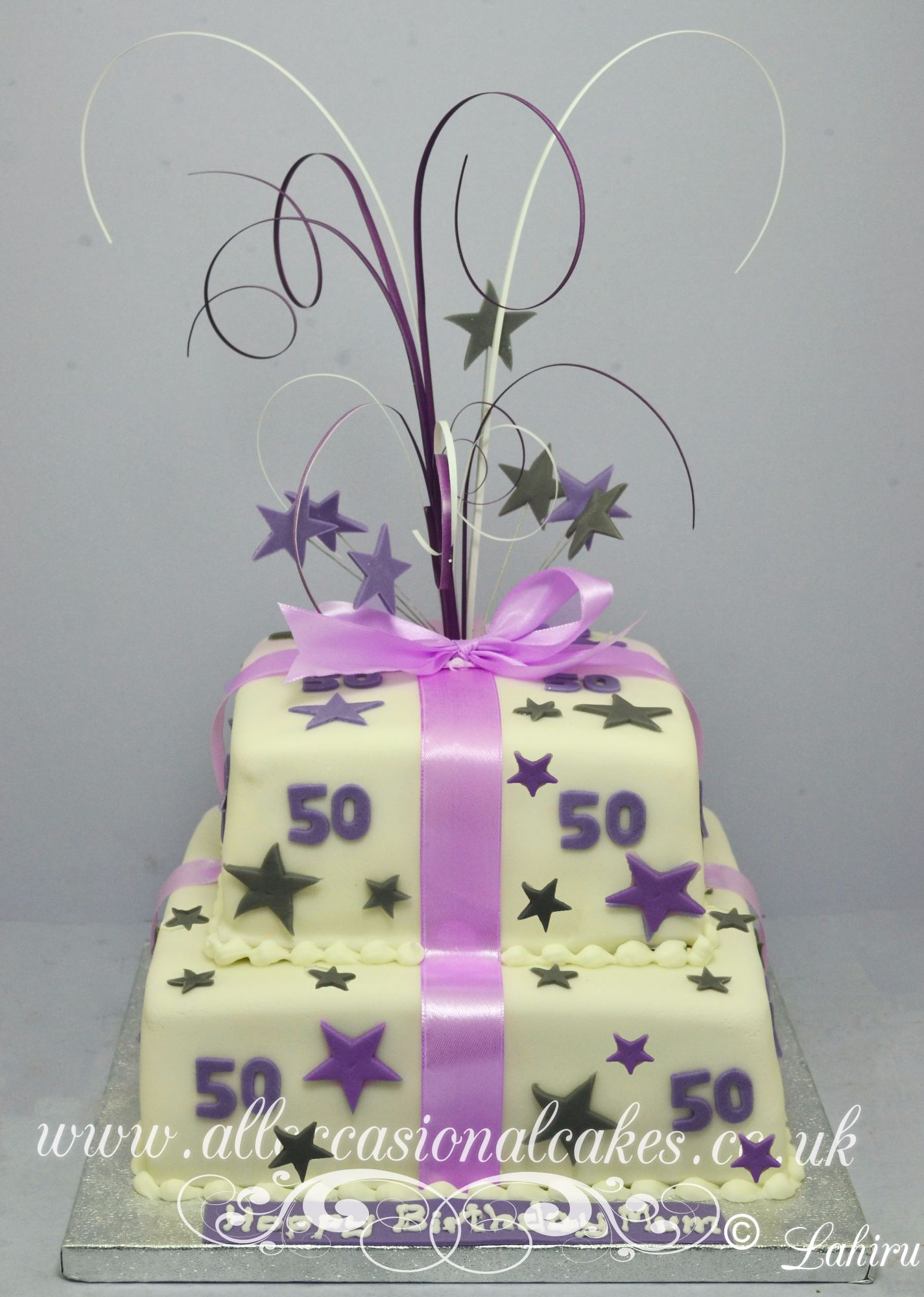purple and gray parcel cake