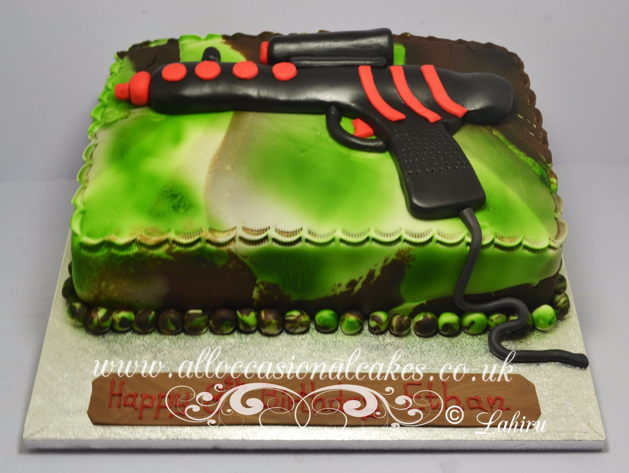 paintball gun cake