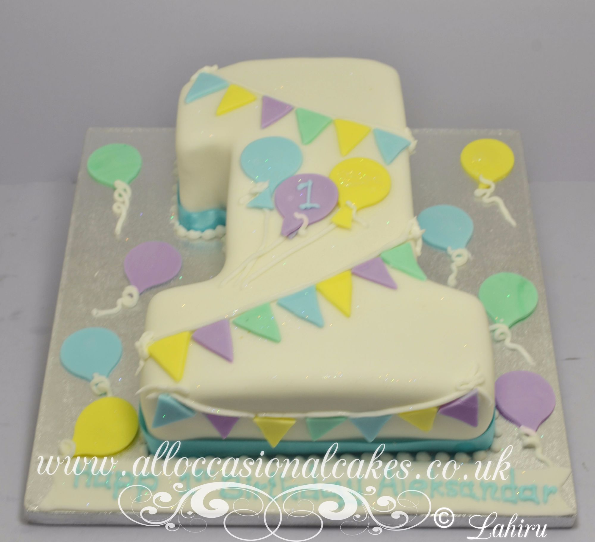 banting and balloon 1st birthday cake