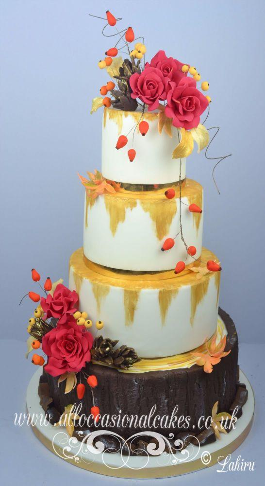 Autumn Rose Wedding Cake