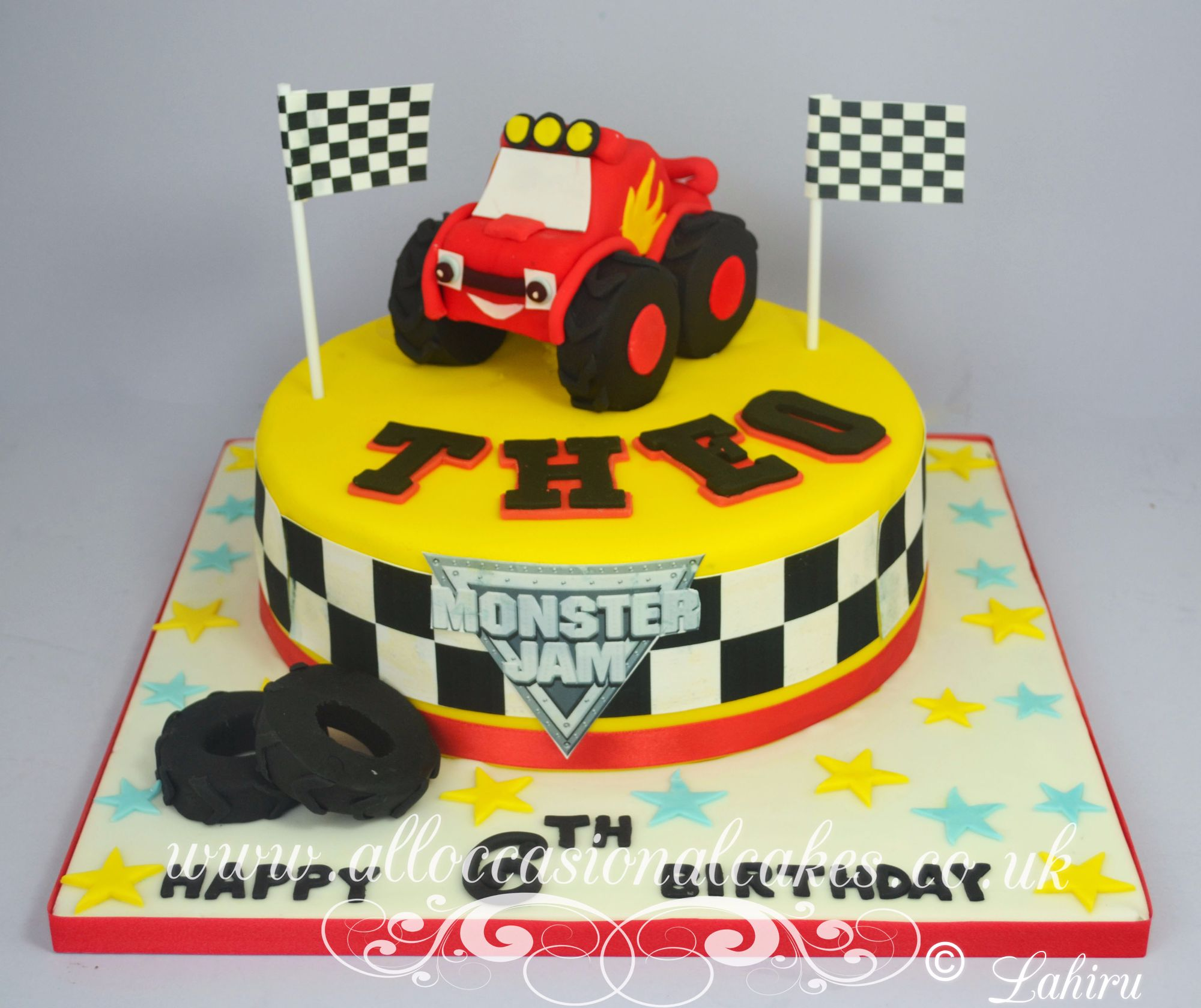 monster trucks birthday cake