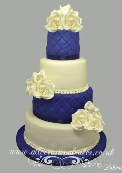 blue and ivory wedding cake