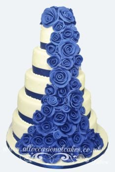 blue rose cascade wedding cake
